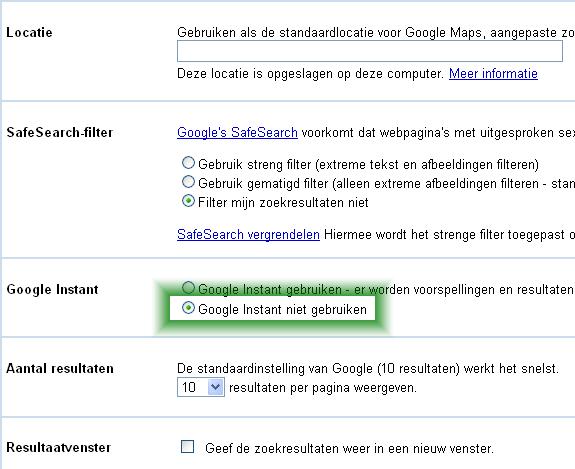 Google Instant uitzetten